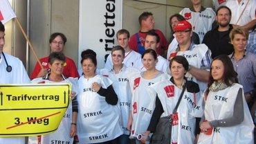 Protestaktion von Beschäftigten der Diakonie