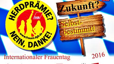 """Die Tischkarte zur Frauentags-Aktion der Nürnberger Gewerkschaftsfrauen sagt zur """"Herdprämie? NEIN, DANKE!"""""""