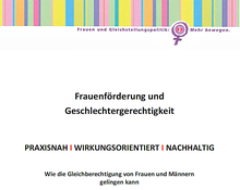 """Cover der Broschüre """"Frauenförderung und Geschlechtergerechtigkeit"""""""