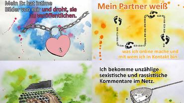 Aktiv gegen digitale Gewalt: Postkartenserie des bff-Projekts