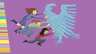 Frauen schieben den Bundesadler