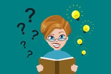 Quiz Brainstorming Frau Illustration