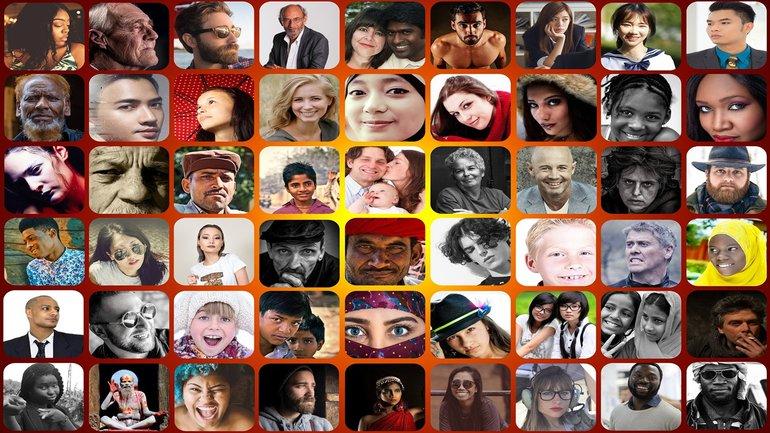 Multikulturell Diversity Gesicht Collage bunt Vielfalt