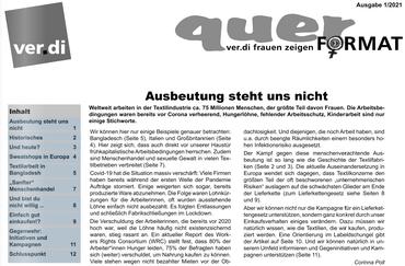 quer Magazin ver.di-Frauen Bayern 01/2021