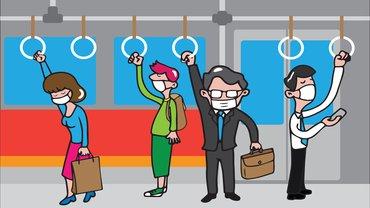 Corona Maske U-Bahn ÖPNV Zug Straßenbahn Illustration Comic